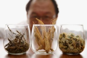 Chinese herbalist with medicinal herbs